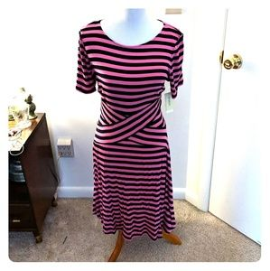 Pink & Black Striped Dress (Size L) New w/ Tags
